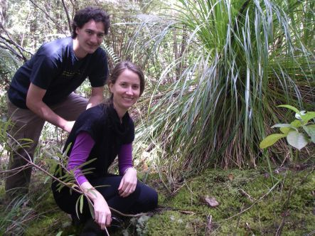 Nathan Camp and Anne Gaskett with a large patch of dung moss