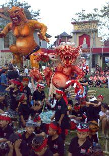 Bali Ogoh Ogoh Ubud Football Field Red one with kids