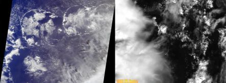 Satellite images of clouds