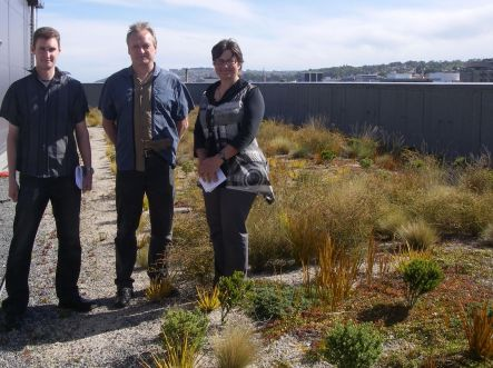Mark Mason, Hans Pietsch and Janice Lord in the roof garden