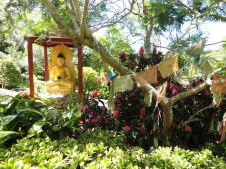 Buddha in garden Dorje Chang Institute Auckland
