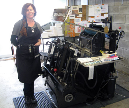 Shona Gow of Magpie Press and her Heidelberg letterpress printing machine, Hildegard