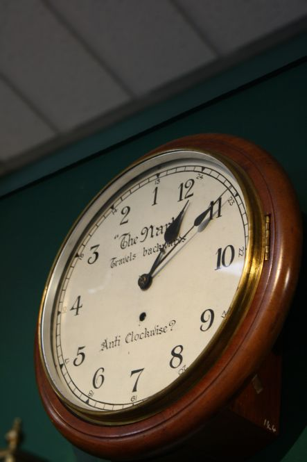 Clocks April The anti clockwise clock Courtesy Claphams National Clock Museum small