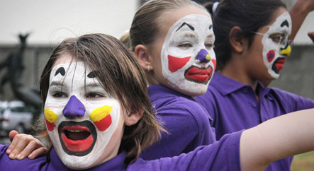 Facepainted performers in Palmerston North