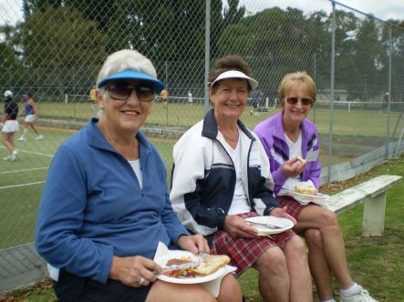 Tennis April From left Carole Forbes Wright Mary Busst Joan Aupouri all from Palmerston North small