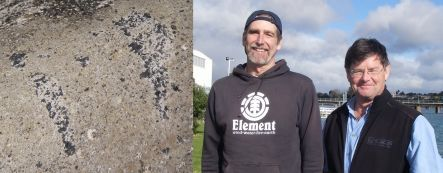 Remnants of oil on a rock, and David Schiel and Chris Battershill