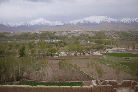 Bamyan July Bamyan Province from the top of a Buddha niche small