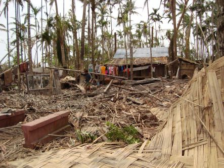 Cyclone damage in Myanmar