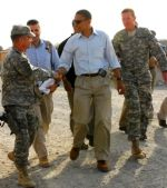 Barack Obama visits with American troops in Afghanistan