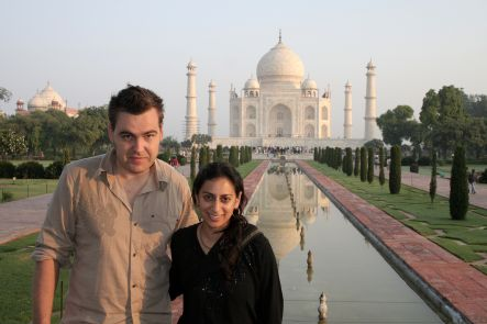 Rhian and Raashi at the Taj Mahal.