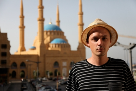 Nick D at The Mohammed al-Amin Mosque in Beirut.