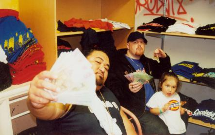 Payday !, Brotha D - Andy and son Tyrone counting the days take in our stock room....jpg