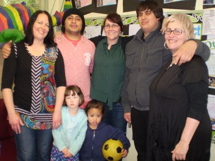 YMen from left Julie Morrison and daughter Saffron with friend Korbin Afa Tunupopo Head Teacher Trinity Coulston Te Karauna Renau and General Manager Wellington Kindergartens Amanda Coulston
