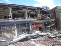 Collapsed shops in Christchurch's centre after February earthquake
