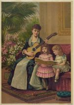 A mother plays the guitar while her two daughters sing a carol