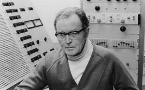 Douglas Lilburn in the studio