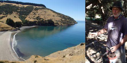 Flea Bay on the eastern side of Banks Peninsula, and trapper John Stuart