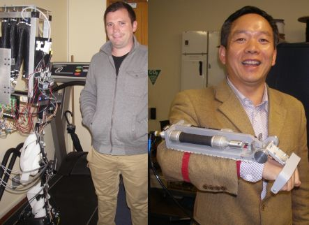 Andrew McDaid with a leg exoskeleton, and Shane Xie with a hand rehabilitation device