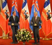 LATIN AM Key and Chilean President Sebastian Pinera