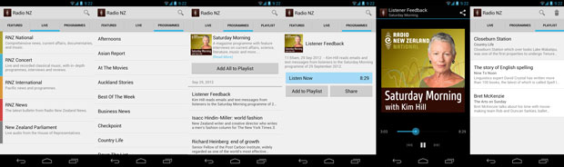 Screenshots from Radio New Zealand for Android