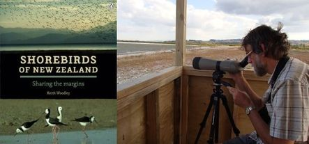 Shorebirds of New Zealand book cover and Keith Woodley looking through his spotting scope