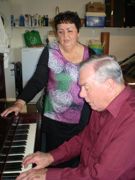 Piano tuner Geoffrey and Alison Higgs at their player piano or pianola Sales peaked in