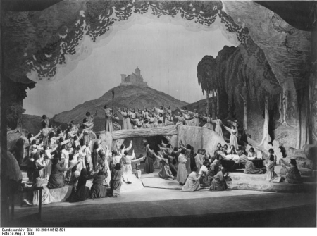 The final scene of Tannhäuser at the Bayreuth Festival House in 1930.